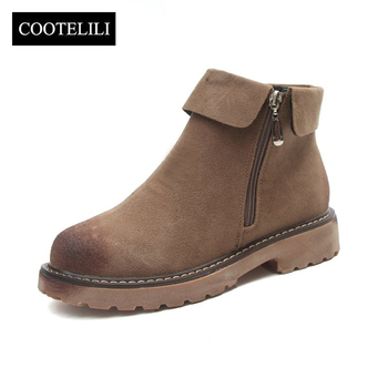 COOTELILI Side Zipper Ankle Boots For Women Winter Shoes Fashion Rubber Sole Platform Boots Ladies Shoes Black Brown 35-39