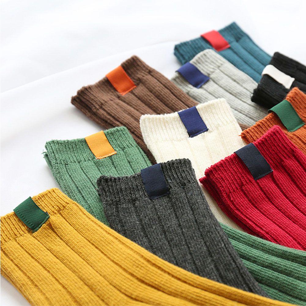 1 Paar Dicke Warme Frauen Socken Einfache Solide Striped Herbst Winter Baumwolle Strumpfwaren Weihnachten Weibliche Socken Fabriken Und Minen