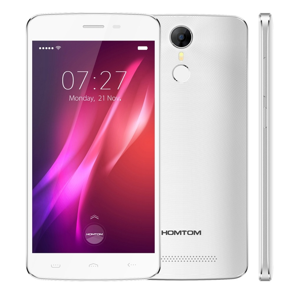 Original Homtom MT6580 HT27 Teléfono Móvil Android 6.0 1G + 8G 5.5 pulgadas HD Huella Digital Pantalla Dual SIM 3000 mAh 3G Smartphone