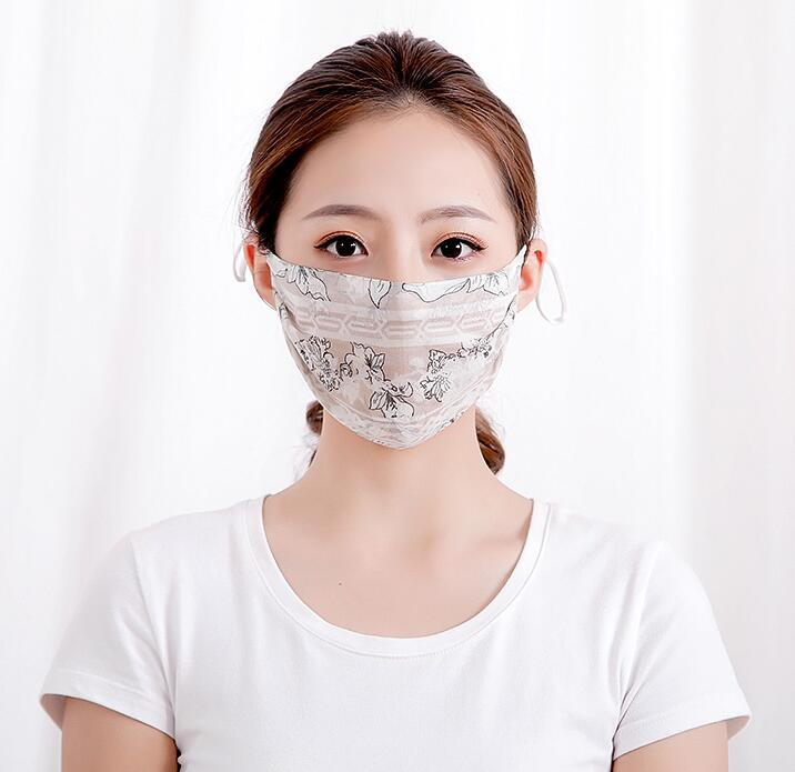 Men Women's Spring Summer 100% Silk Sunscreen Mask Lady's PM 2.5 Breathable Silk Mouth-muffle R1506