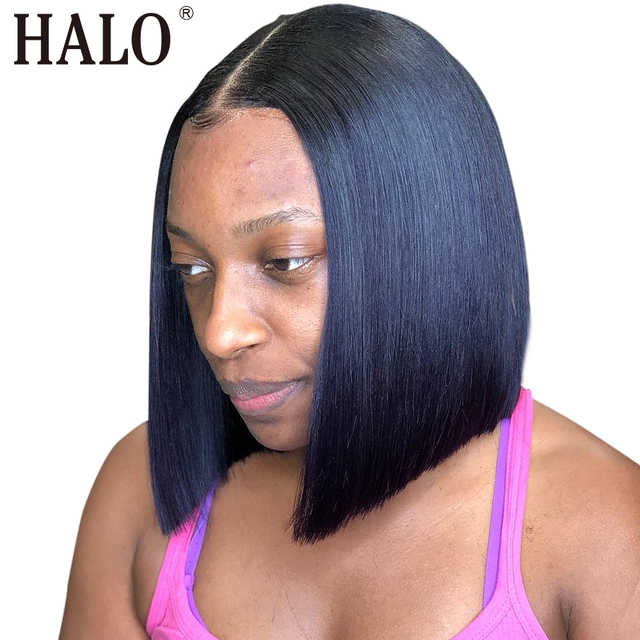 Short Lace Front Human Hair Wigs Brazilian Straight Bob Natural Wig Lace Frontal Wig Pre Plucked Baby Hair Free Shipping