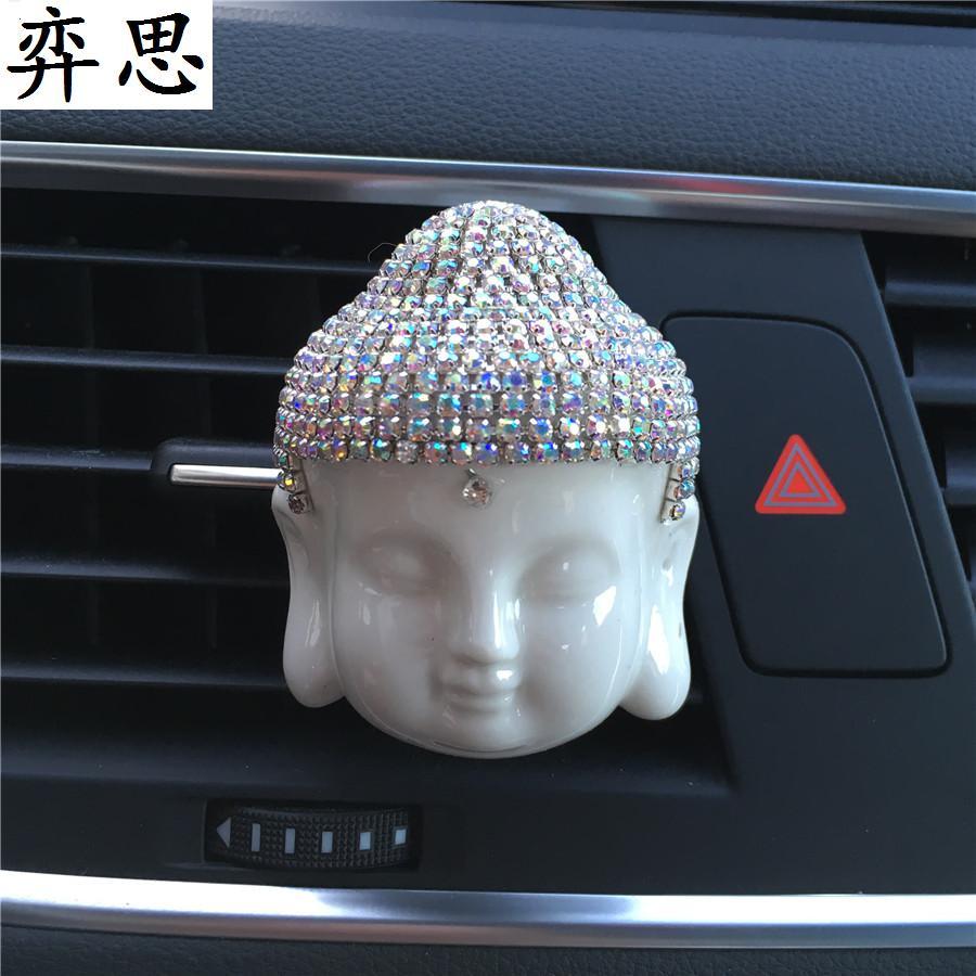 Seramik Buda mor kum Buda kafa Çıkış parfüm Araç monte klima - Araç Içi Aksesuarları - Fotoğraf 1