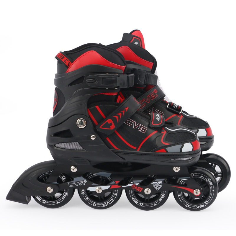 Kids Children Teenagers Inline Skate Roller Skating Shoes Adjustable PU Wheels Patines Shock Absorption Breathable Thicken Frame 1 pair lovely children inline ice skate roller skating shoes with brake adjustable washable pe aluminum alloy stent pu wheels