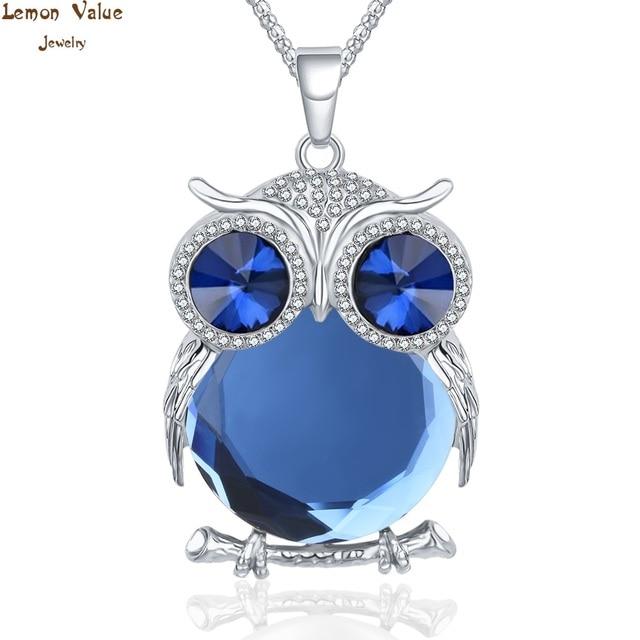 Lemon Value Statement Fashion Charms Crystal Owl Pendants Vintage Punk Maxi Rhinestone Long Necklaces Women Jewelry Gift A178