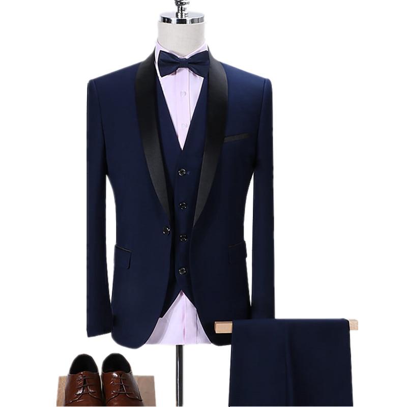 3-Piece Suit Vest Pants Men/'s Slim Business Formal Suits Wedding Leisure Blazer