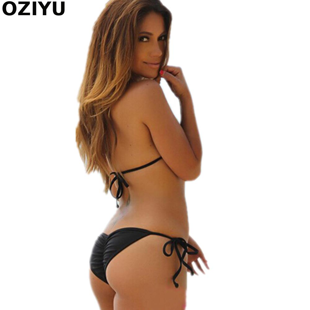 Solid Brown Modern Fit Strappy Butt Bottom Scrunch Bandage Bikini Set  swimsuit Micro Mini Brazilian Thong Swimwear Wholesale-in Bikinis Set from  Sports ... b8f8bf9686541