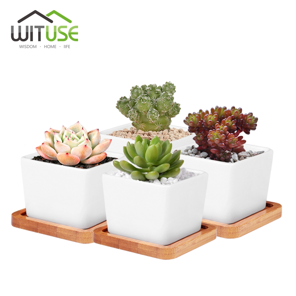 WITUSE 4x White Square Ceramic succulent plants pots DIY Mini potted succulents Desktop plant pots +Bamboo Tray For Garden Decor
