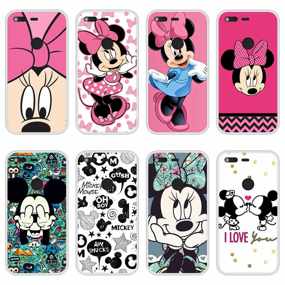 Case For Google Pixel Soft Silicone TPU Mickey Minnie Pattern Print Phone Cover For Google Pixel Case