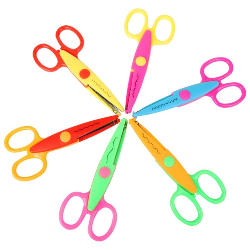 6Pcs Laciness Scissors Metal And Plastic Diy Scrapbooking Photo Colors Scissors Paper Lace Diary Decoration With 6 Patterns