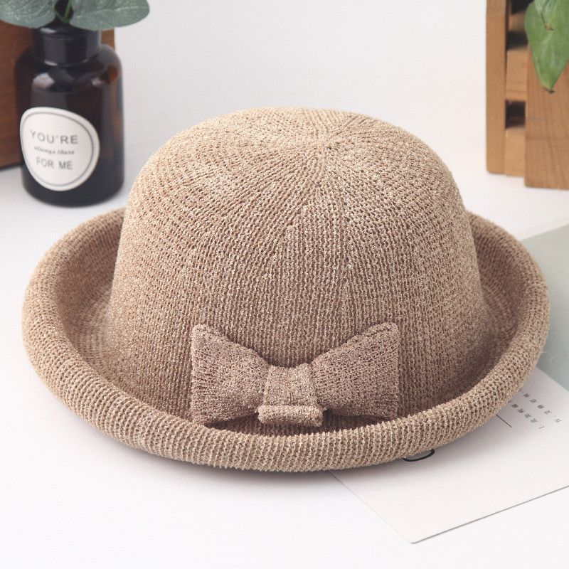 2018 New women sun hats female bow-knot solid color weaving curl brim sun hat foldaway casual shade summer beach hat caps