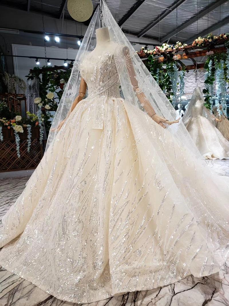 HTL388 boda special strapless wedding dress with wedding veil sleeveless sexy princess bridal dresses shiny robe de mariage 2019 (10)