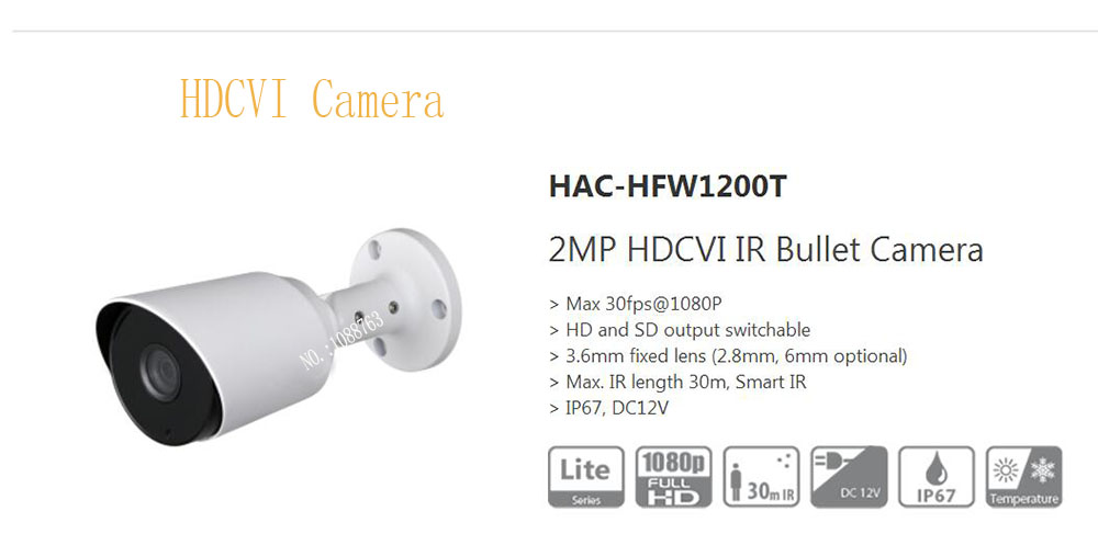Free Shipping DAHUA Security Camera 2MP HDCVI IR Bullet Camera Smart IR IP67 Without Logo HAC-HFW1200T bullet camera tube camera headset holder with varied size in diameter