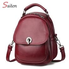 Litchi Backpack Leather Female Shoulder Bag for Women Travel High Quality Small mochila feminina