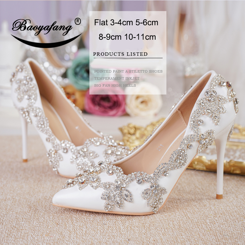 BaoYaFang pointed toe Womens wedding shoes Crystal pumps Fashion bridal shoes pumps Party Dress shoe for