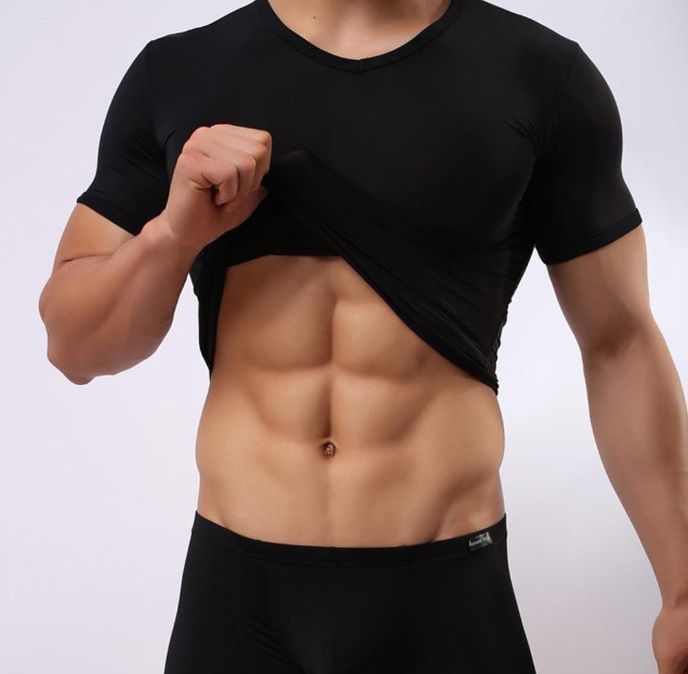 High Quality 1Pcs Men Sexy Transparent Shirt Gauze Sexy Underwear T Shirt Wear Slim -1710