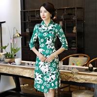 High Quality Mandarin Collar Green Cotton Cheongsam Chinese Traditional Printing Qipao Elegant Sexy Short Dress Plus