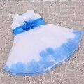 Scoop Sleeves Blue Flower Sash Ankle-Length White Flower Girl Dresses/Girl Dresses for Wedding/Children Dress
