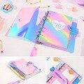 A6 Spiraal Notebook Planner Organizer Verdelers Agenda Wekelijkse Persoonlijke Reizen Dagboek Journal Laser Transparante Regenboog Note Boeken