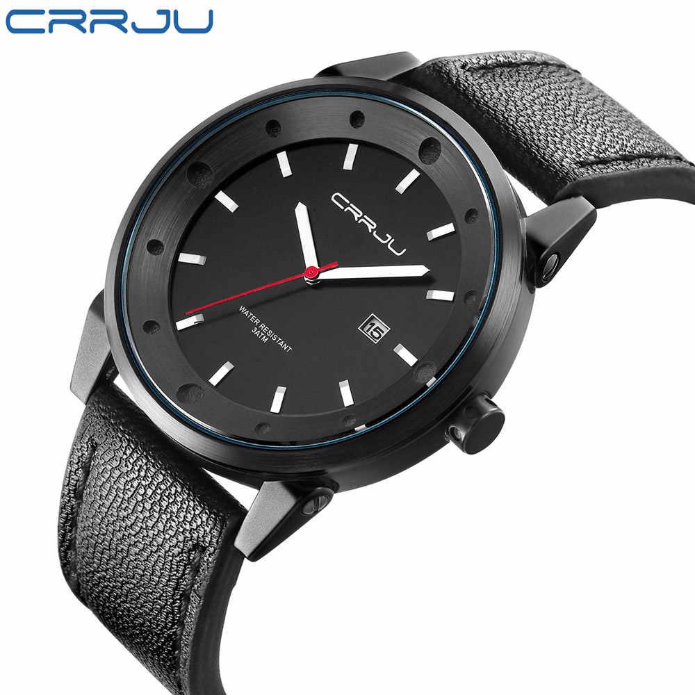 CRRJU роскошные новые мужские часы лучший бренд Мужские кварцевые повседневные