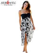 SEBOWEL Summer Black White Printed Beach Dress Women Sexy Strapless for Vacation Loose Long Floral Sundress Swimwear