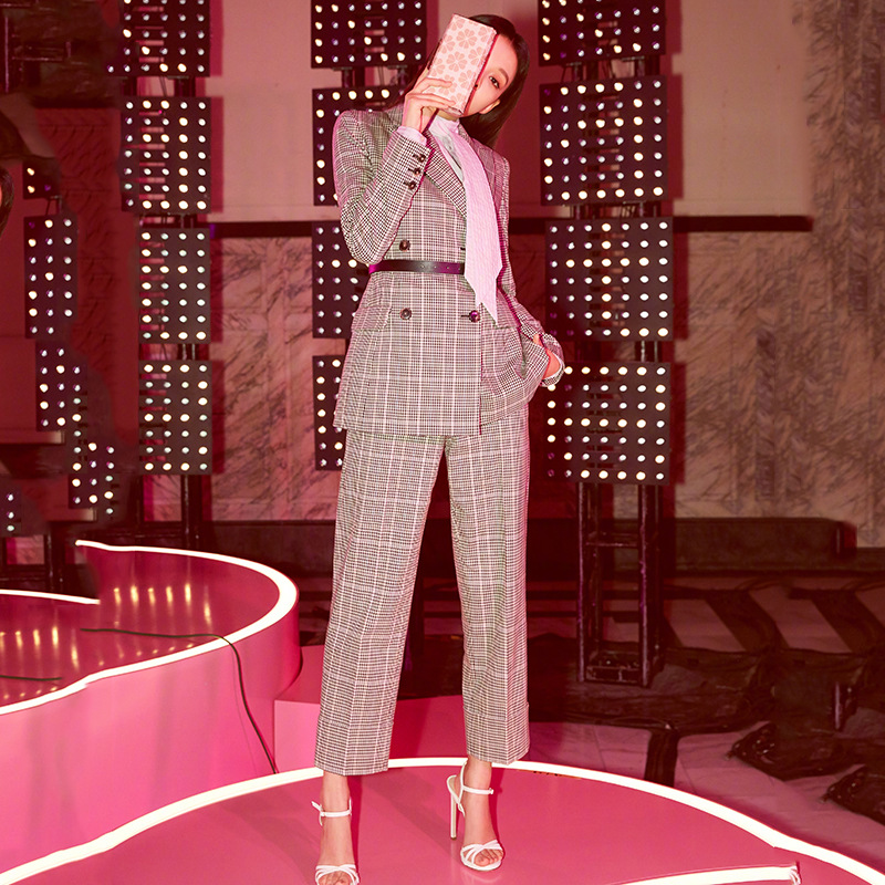 High quality 2019 New Office 2 piece set women Long Plaid Double-breasted women