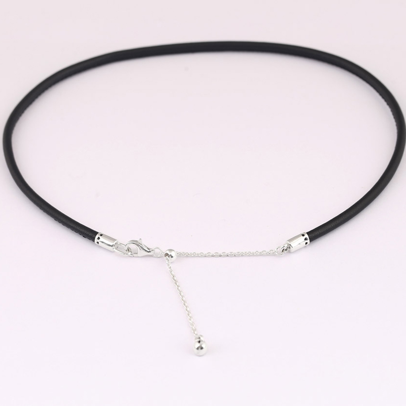 1768c1cac ... buy new leather choker with adjustable sliding clasp necklace for women  wedding gift pandora jewelry 925