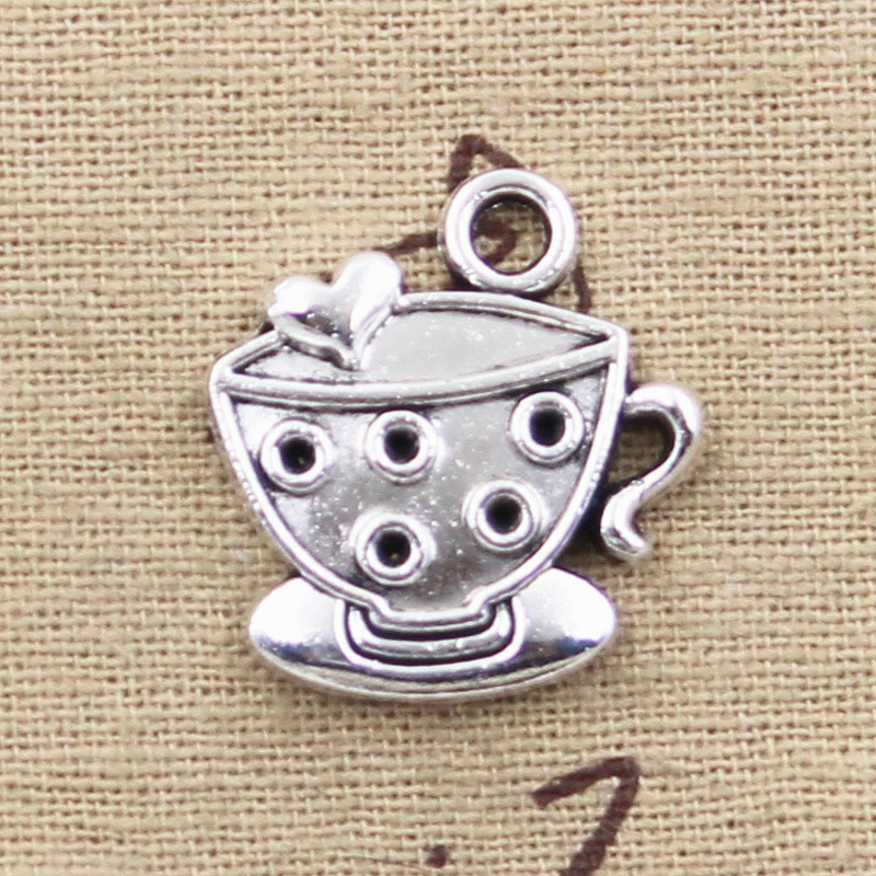 4pcs Charms a cup of coffee 25*22mm Antique Tibetan Silver Pendant Findings Accessories DIY Vintage Choker Necklace