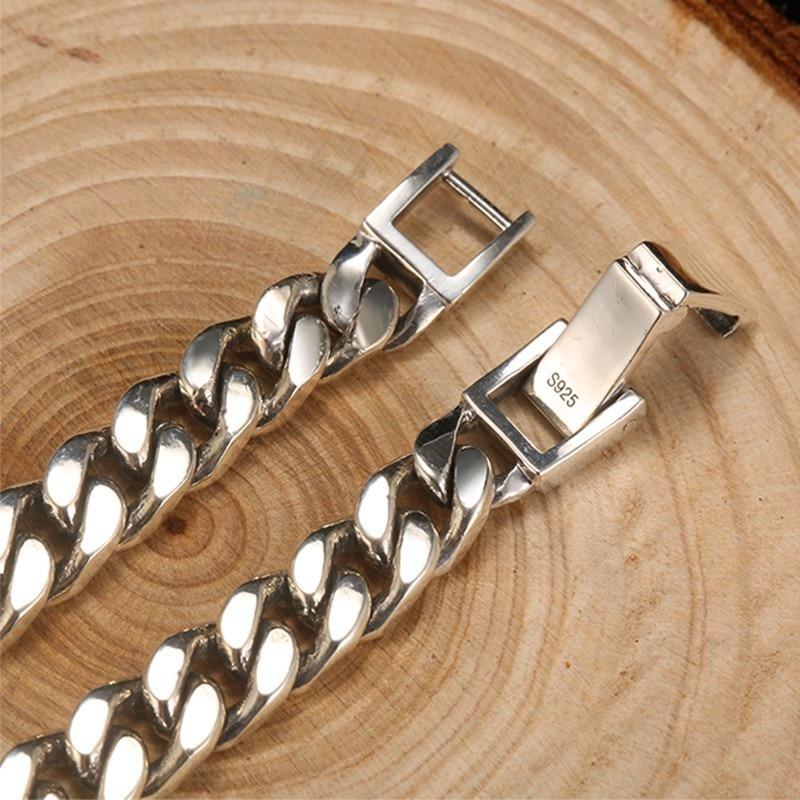 ZABRA Real 925 Sterling Silver Bracelet Mans 8mm Width 18.5 Length Rock Fashion Chain Bracelets For Man Jewelry Gift - 5