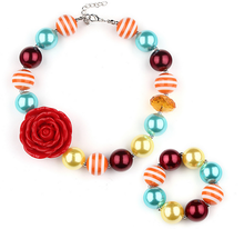 Nice Promotion Item Fire Red Sun Flower Choker Necklace For Kids Girls Bubblegum Baby Toddler Chunky Bracelet Yiwu Factory NZS14