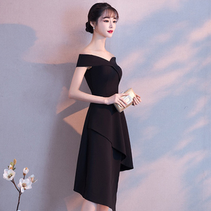 Image 3 - DongCMY Black Prom dress 2020 new arrival fashion Asymmetrical short Party Gown