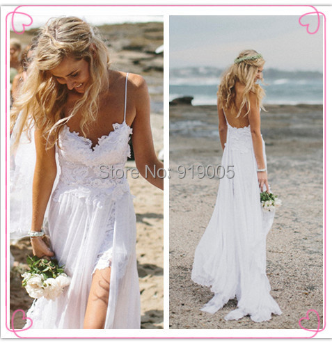 Real Sample White 9003 Beach Wedding Dress Party Bridal Gown Backless Lace Long Length Vestido De Festa Longo - SuSu D Store store