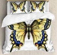 Borboleta cauda de andorinha Papilio Machaon em Aquarelas Conjunto de Capa de Edredon Amarelo Comum Frágil Beleza Decorativo 4 Peça Conjunto de Cama