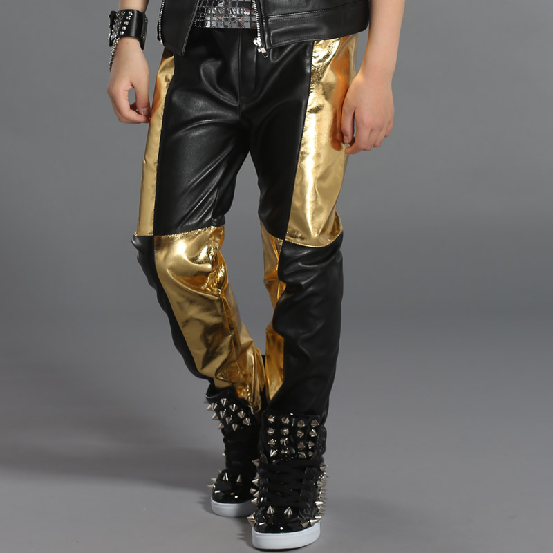 Hip Hop Costume Boys Trousers Leather Pants Children Modern Jazz Stage Outfit Street Dance Clothes Kids Performance Wear DN2976
