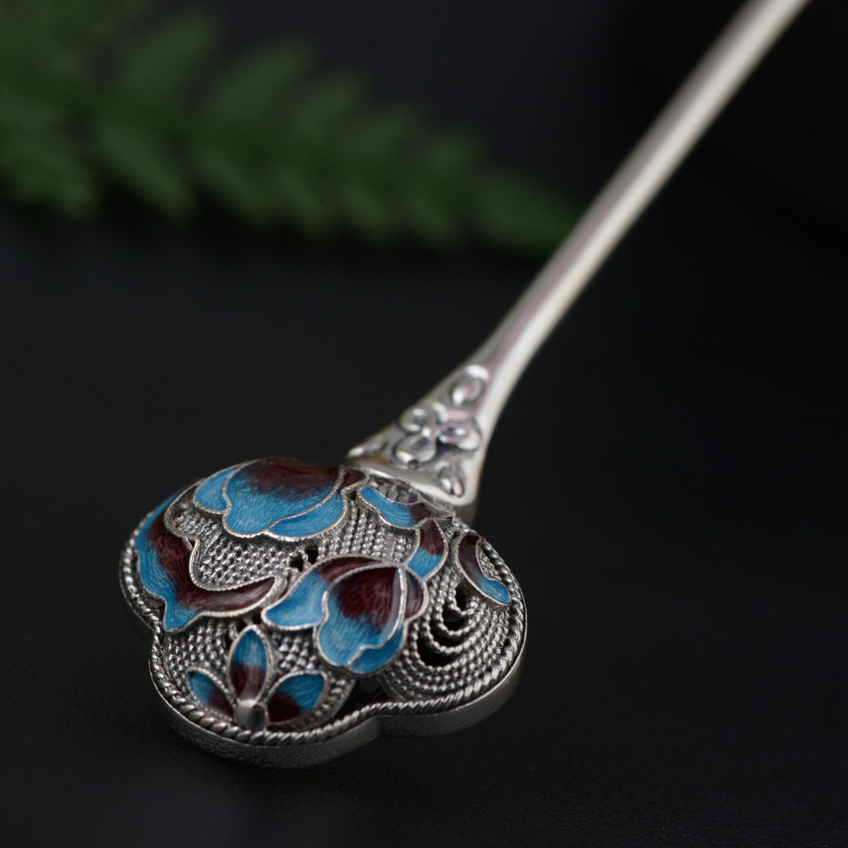Cloisonne Thai Silver Hair Stick Enamel Silver Chinese Style Hairpin Peony Flower Hair Fork Jewelry Accessories 90x22mm WIGO1283 24050100120 сахарница 100 120 автор раб