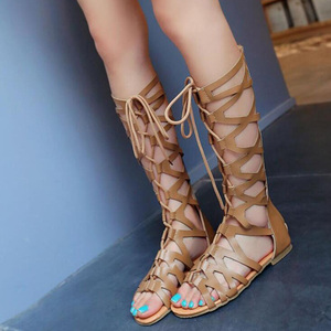 Image 1 - 2020 로마 검투사 붕대 샌들 여성 무릎 높이 플랫 sandalias botas 여성 신발 여성 여름 할로우 발목 부팅