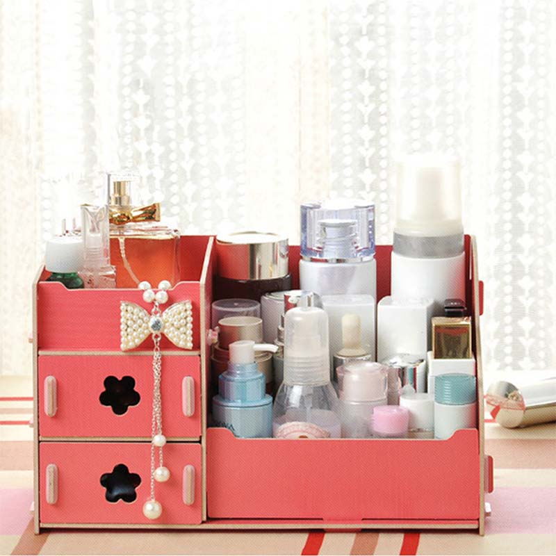 DIY Foldable Cosmetic Storage Box Wooden Jewelry Container Handmade Makeup  Box Multifunctional Sorting Box For Bedroom