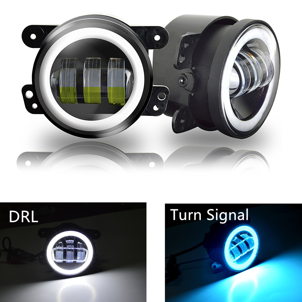 DOT 4'' 30W LED Headlights Fog Lights with Halo Angel Eye Ring White DRL / Blue Turn Signal Lights For Jeep Wrangler TJ LJ JK 7 led halo headlights for jeep wrangler jk jku tj lj rubicon sahara unlimited white drl amber turn signal 4 halo fog light