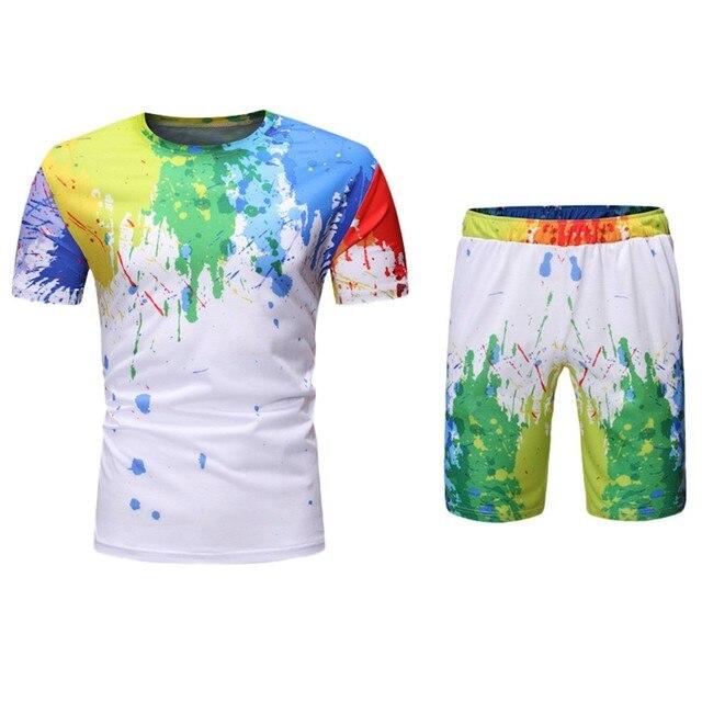 Unisex 3D acuarela colorida pintura camisetas verano hombres cuello redondo manga corta Tops moda Casual camisetas pantalones cortos