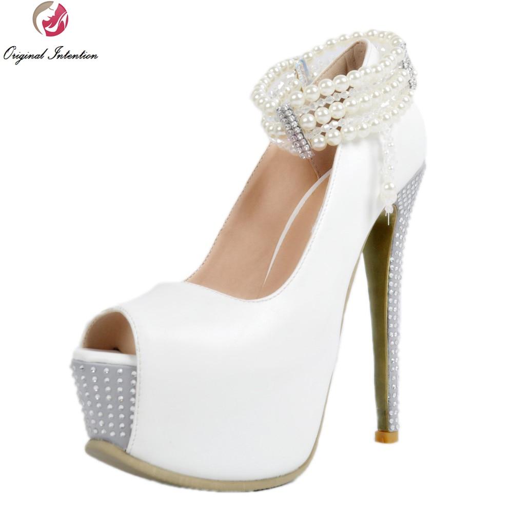 ФОТО Original Intention Elegant Women Pumps Gorgeous Beading Platform Peep Toe Thin Heels Pumps White Shoes Woman Plus US Size 4-15