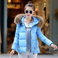 New Padded Winter Jacket Women Cotton Short Jacket Fashion 2016 Girls Slim Plus Size Padded Hooded Parkas Coat Fur Collar M-3XL