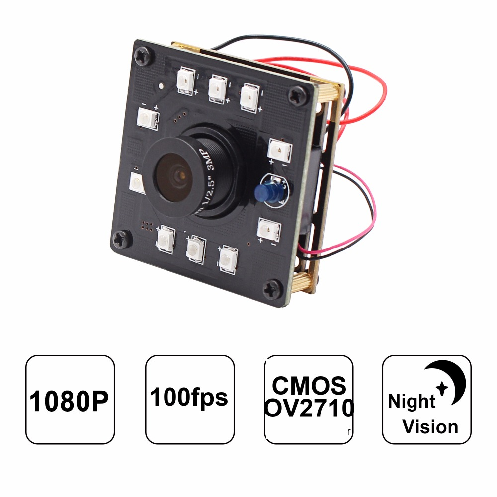 New Arrival Infrared Camera Module 1080P High Speed 100fps CMOS OV2710 Sensor 2mp Night Vision Indutrial Camera With USB Camera