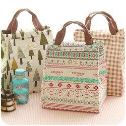 Alta qualidade portátil das mulheres crianças moda fresco isolado lona lancheira saco de armazenamento comida térmica piquenique almoço bolsa