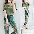 2 Duas Peças Set Mulheres Coreia Do Hot Feminino Topos Blusa de Cetim Calças perna Primavera Verão Casuais Conjuntos de Roupas Ternos Magros das Mulheres 88011