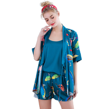 SSH0312 Pajama Spring Summer Women Set Lady Satin Silk Sleepwear Sexy Robe Vest and Shorts 3pcs Pyjamas Female Nightwear