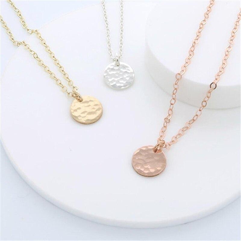 234771fc5 Comprar Collar de monedas martillado personalizado hecho a mano gargantilla  de oro rosa 10mm colgante Collier mujer Kolye collar joyería Riverdale  Online ...