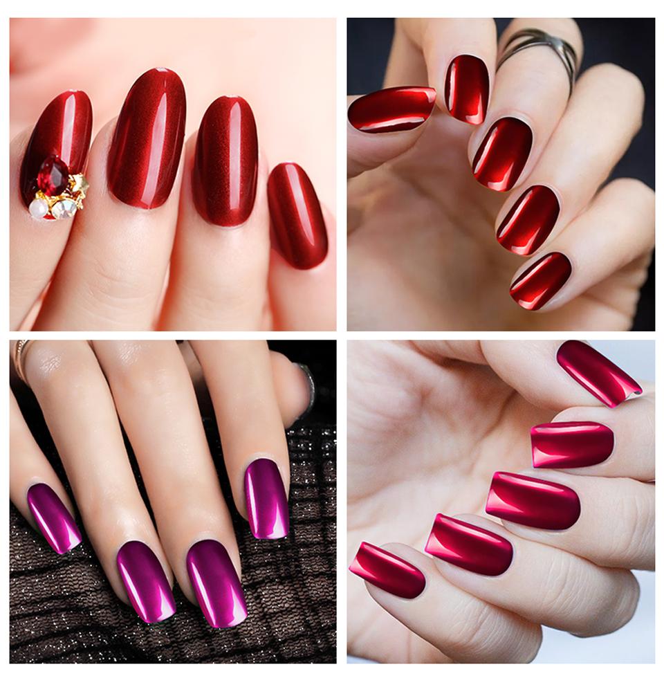 Saviland Titanium Red Gel Nail Polish Metal Mirror Effect Gel ...