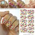 Наклейки на ногти воды Цветные Ломаную Клетку Шаблон Дизайна Маникюр Наклейки Мода Переброски Вод Ногтей Фольги Наклейки клей