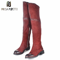 Prova Perfetto Sheepskin Women Thigh High Boots Rivets Studded Over the Knee Boots Flat Solid Color Martin Boot High Botas Mujer
