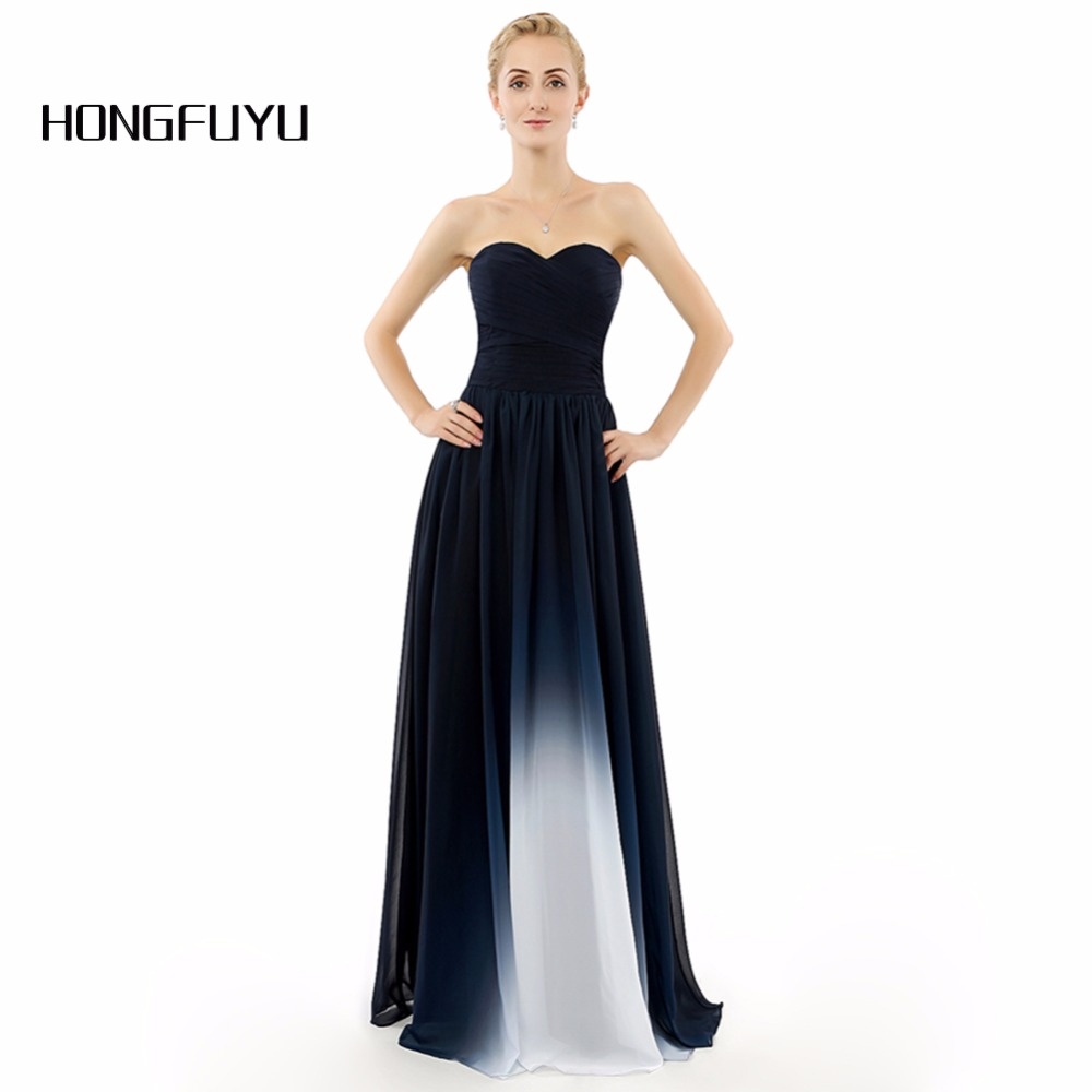 Our New Real Photo Elegant Dark Navy Ombre Gradient Long Evening ...