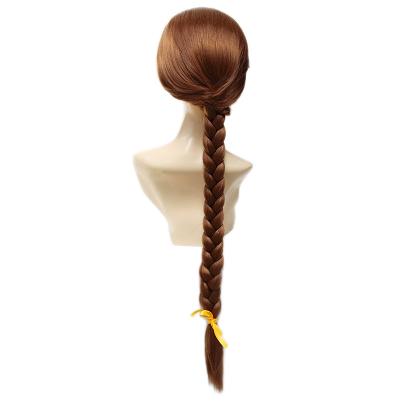 BCHR New Tangled Princess Rapunzel Braid Long Straight Heat-Resistant Cosplay synthetic brown Wig Free Shipping